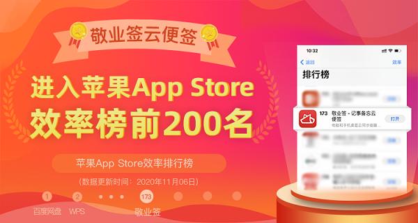 敬业签进入App Store效率榜前200名